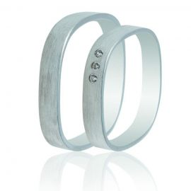 Four-Sided White Gold Wedding Rings