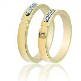 Χρυσή Βέρα Γάμου Με Λευκόχρυση Λεπτομέρεια Χάραξης