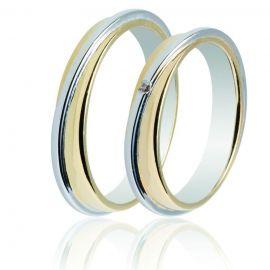 Διπλή Βέρα Γάμου από Κίτρινο και Λευκό Χρυσό