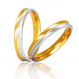 Χειροποίητη Βέρα Γάμου Δίχρωμη με Διαγώνιο Σκάλισμα