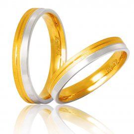 Χειροποίητη Βέρα Γάμου Δίχρωμη Σατινέ - Λουστρέ