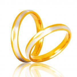 Χειροποίητη Βέρα Γάμου Σατινέ Δίχρωμη