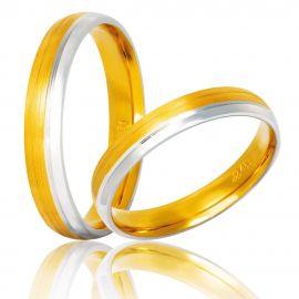 Χειροποίητη Χρυσή Βέρα Γάμου Ματ με Λευκόχρυσο