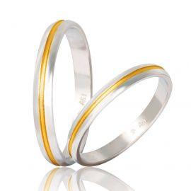 Χειροποίητη Βέρα Γάμου Λευκόχρυση με Χρυσή Λεπτομέρεια
