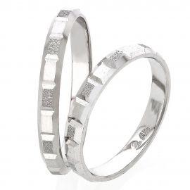 Polish Finished Handmade Matte White Gold Wedding Rings