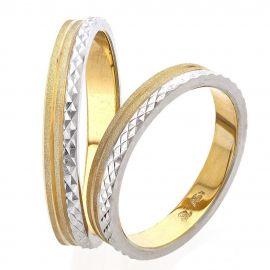 Χειροποίητη Βέρα Γάμου Δίχρωμη σε Πρωτότυπο Σχέδιο