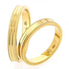 Χρυσή Βέρα Γάμου Χειροποίητη Πλακέ