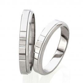 Handmade Flat Court White Gold Wedding Rings