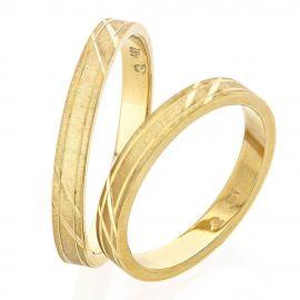 Χειροποίητη Βέρα Γάμου Σατινέ Χρυσή με Σκάλισμα