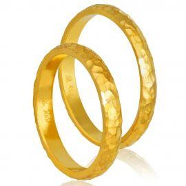 Χρυσή Βέρα Γάμου Χειροποίητη Σφυρήλατη