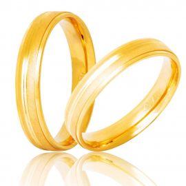 Χρυσή Βέρα Γάμου Λουστρέ με Σατινέ Λεπτομέρεια