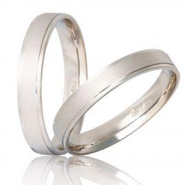 Χειροποίητη Λευκόχρυση Βέρα Γάμου Ματ με Λουστρέ Λεπτομέρειες