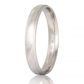 Polish Finished Matte White Gold Wedding Ring