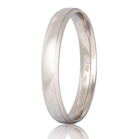 Λευκόχρυση Βέρα Γάμου Ματ με Λουστρέ Λεπτομέρειες στις Άκρες