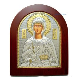 Ασημένια Εικόνα Άγία Παρασκευή (Χρυσή Διακόσμηση)