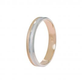 Flat Court Wedding Ring in White Gold and Rose Gold