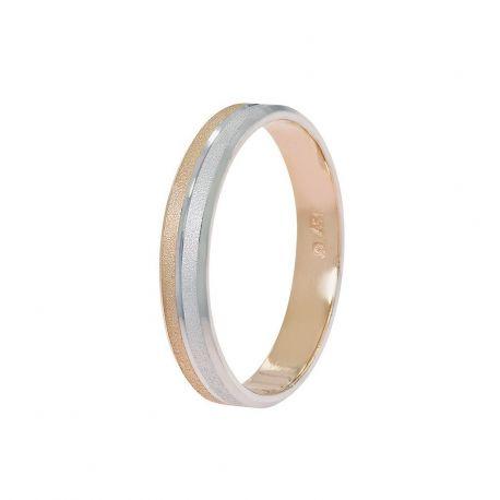Πλακέ Βέρα Γάμου από Λευκό και Ροζ Χρυσό