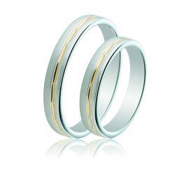 Two-Tone Silver Wedding Rings