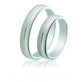 Bevelled Edge Matte Wedding Silver Rings