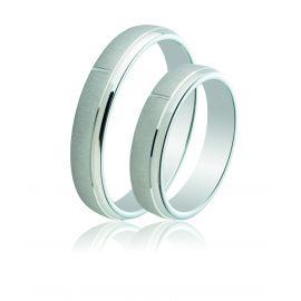 Bevelled Edge Matte Silver Wedding Rings