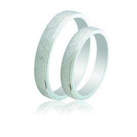 Wire Brushed Silver Wedding Rings