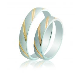 Two-Tone Matte Silver Wedding Rings