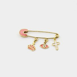 Gold-Plated Sterling Silver Baby Girl's Pin with Pink Enamel
