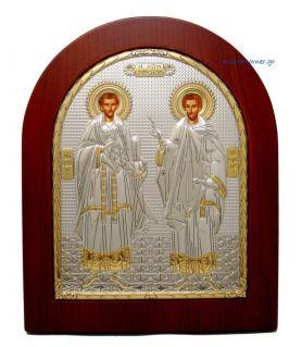 Ασημένια Εικόνα Άγιος Κοσμάς κ' Δαμιανός (Χρυσή Διακόσμηση)