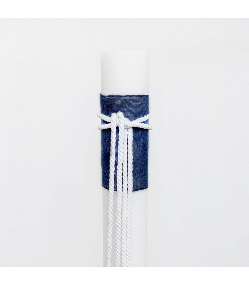Wedding Candle 15cm with Navy Cloth and White Cord