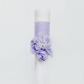 Wedding Candle, 12cm, with Lilac Embellishments
