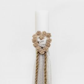Wedding Candle, 12cm, with Burlap and Lace made of Tulle