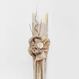 Wedding Candle, 15cm, with Burlap, Lace and Blossoms made of Wood