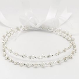 Handmade Wedding Crowns SILVER PEARL