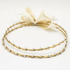 Handmade Wedding Crowns GOLD PEARL