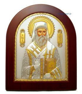 Ασημένια Εικόνα Άγιος Νεκτάριος (Χρυσή Διακόσμηση)