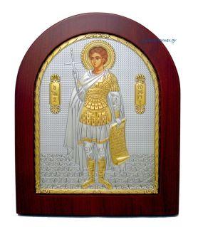 Ασημένια Εικόνα Άγιος Φανούριος (Χρυσή διακόσμηση)