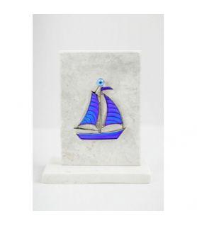 Καράβι μπλε σε μαρμάρινη Πλακέτα