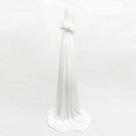 Wedding Candle 12 cm with White Satin Fabric