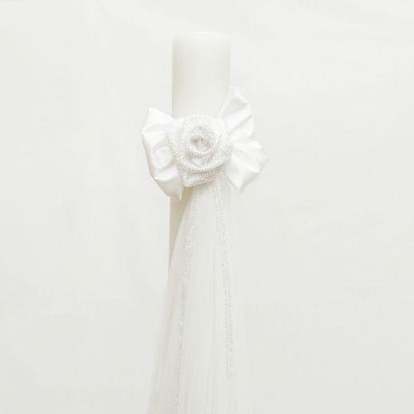 Λαμπάδα Γάμου 12 cm με Λευκό Σατέν Στολισμό και Γκλίτερ