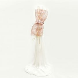 Wedding Candle 12 cm with Dusty Pink Decoration