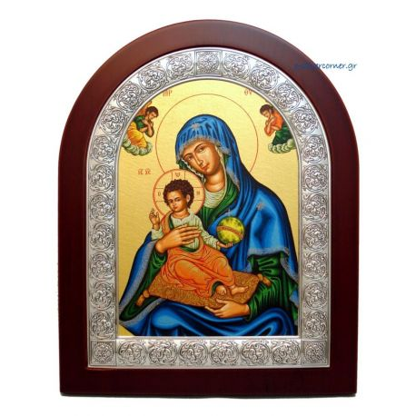 Holy Virgin Mary of Corfu with Blue Purple