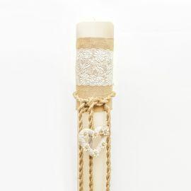 Λαμπάδα Γάμου 12 cm με Vintage - Ρομαντικό Στολισμό