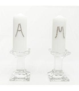 Κρυστάλλινα Κηροπήγια Γάμου - Κερί με Μονόγραμμα
