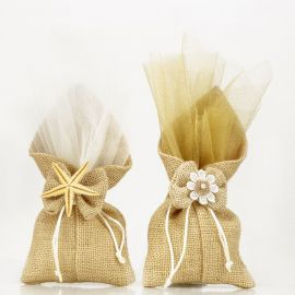 Μπομπονιέρα Γάμου Τσουβαλάκι Λινάτσας (Παραλλαγές)