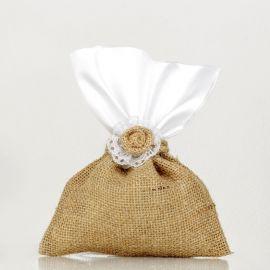 Μπομπονιέρα Γάμου Λινάτσα - Λευκό Σατέν