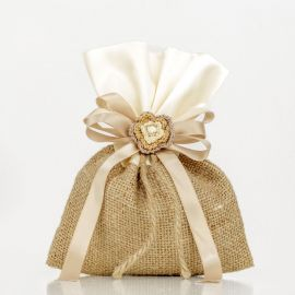 Wedding Bomboniere-pouch with Burlap and Satin Fabric
