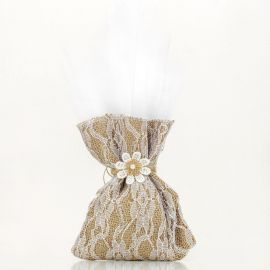 Wedding Tulle Bomboniere with Burlap and Lace