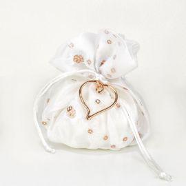 Μπομπονιέρα Γάμου Πουγκί Σατέν με Ροζ Επίχρυση Καρδιά