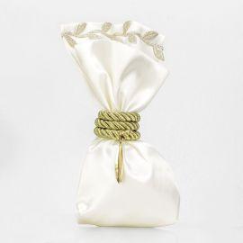 Μπομπονιέρα Γάμου με Επίχρυσο Φύλλο Ελιάς