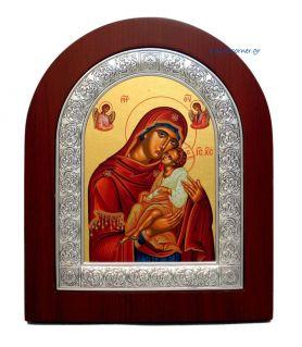 Ασημένια εικόνα Υπεραγία Θεοτόκος Γλυκοφιλούσα αγιογραφία
